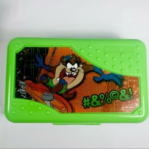 Vtg Looney Tunes Skateboard Taz Pencil Box + Bonus